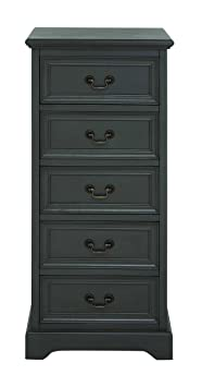 Benzara Marseille Fancy Wood Tall Dresser, 18.66 by 18.66 by 18.66-Inch, Black