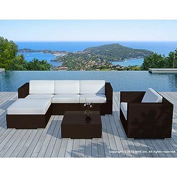 Salon de jardin design AMALYS chocolat et blanc Couleur Marron ...