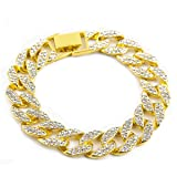 Miami Cuban Link Cz 15mm Full Stone Iced-Out Gold Plated Hip Hop 8