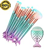 RWM Makeup Brushes 11PCS Make Up Foundation Eyebrow Eyeliner Blush Cosmetic concealer Brushes(Mermaid colorful) (Color: Multicolor, Tamaño: see the picture)