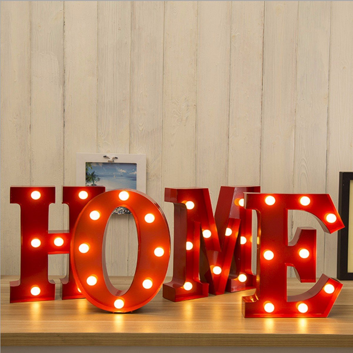 SOLMORE 23CM x 5.5CM LED Letter Light DIY Vintage Metal Sign Carnival Wall Marquee Lights Decoration M 6