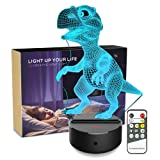 Night light 3d Dinosaur 3d Lamp Optical Illusion Kids Night Light Animals 7 Colors Change LED Touch Table Desk Lamps with Remote for Boys Girls Bedroom Birthday Gifts(Dinosaur) (Color: Dinosaur, Tamaño: Dinosaur)