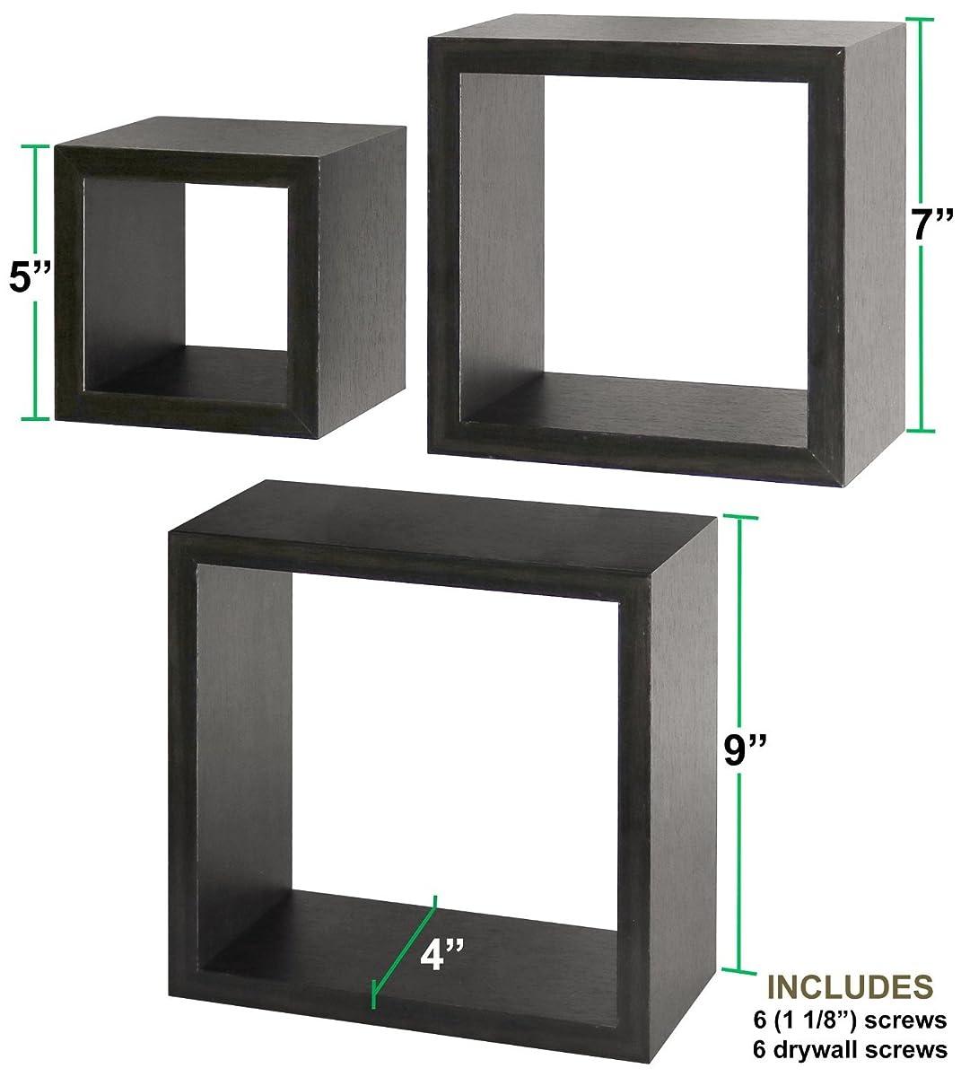 Greenco Set of 3 Floating Cube Shelves, Espresso Finish