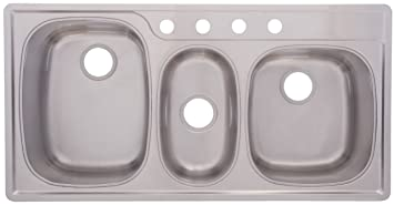 FrankeUSA OTSK951BX Offset Triple Bowl Stainless Steel 43x22in. Topmount Sink