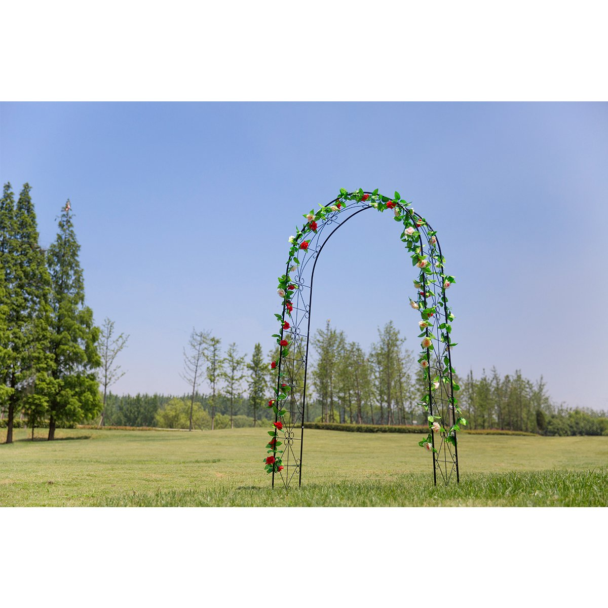 HollyHOME Decorative Metal Garden Arch, Sturdy Garden Arbor with Round Top, Perfect for Climbing Plant, 75 High x 39 Wide