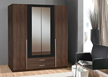 SlumberHaus German Skate Mirror Mirrored Wardrobe Walnut & Black (4 Door 180cm)