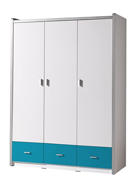 Bunk bokl2394 Bonny Cupboard with 3 Doors MDF/Particle Board Turquoise 201 x 150 x 59 cm