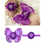Rebecca online Newborn Baby White Butterfly Angel Wings With Hairband, Photography Props With Flower Halo Set (Purple)