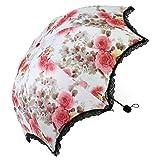 kilofly Anti-UV Folding Travel Parasol Vintage Floral Rain Sun Shade Umbrella (Color: red, Tamaño: One Size)