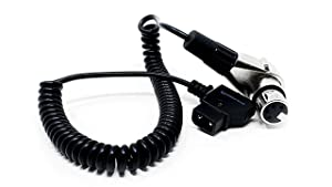 KONDOR BLUE D-Tap to 4 Pin XLR Female Right Angle Adapter Power Coiled Cable for Blackmagic URSA Mini Pro, Sony Venice F5 F55, Panasonic Varicam, TV Logic Field Monitor, Hive Wasp 100, Sound Mixers.