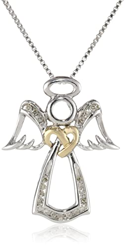 Love-Knot-Sterling-Silver-and-14k-Yellow-Gold-Angel-White-Diamond-Accent-Pendant-Necklace-18-