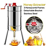 SHUOGOU Honey Extractor, Manual Bee Honey Extractor Honeycomb, Stainless Steel Beekeeping Equipment with Spinner 3 Frames Sieve Honey Strainer