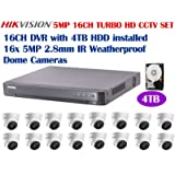 Hikvision 5 Megapixel 16CH TURBO HD CCTV System: 16CH DVR with 4TB HDD installed and 16 x 5MP IR 2.8mm lens Outdoor Dome Turret Camera