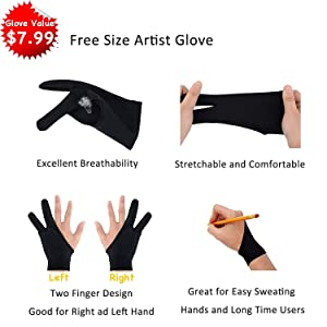Drawing Tablet Case Carrying Bag with Artist Glove Graphics