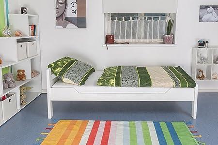 "Bettgestell ""Easy Sleep"" K1/2n, Buche Vollholz massiv weiß lackiert - Maße: 90 x 200 cm"