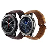 KADES Genuine Leather Retro Cowhide Smart Watch Band with quick release pin for Samsung Gear S3 Classic and Gear S3 Frontier - Large, Pack of 2 (Color: Large, 2-Pack)