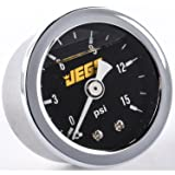 JEGS Performance Products 41010 Fuel Pressure Gauge 0-15 psi Black Dial