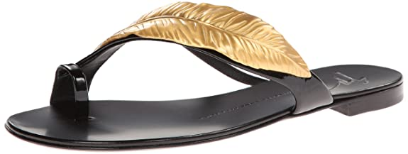 Giuseppe Zanotti Women's Gold Leaf Sandal,Nero,6.5 B US
