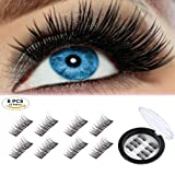 Beatife Magnetic False Eyelashes Fake Lashes Extension, 3D Black Dual Magnets Ultra Thin Soft, Glamorous, Natural Look, No Glue, Handmade Reusable Eyelashes (Black) 2 Pair/8Pcs (Color: Black, Tamaño: Medium)