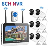[2019 Newest] Home Security Camera System, NexTrend 8CH Wireless Security Camera System(Built-in 12'' HD Monitor), 6pcs Outdoor Security Cameras, 1TB HDD Pre-Installed no Monthly Fee (Color: C: 6PCS 960P Cams+ 8CH 960P NVR with Monitor, 1TB HDD)