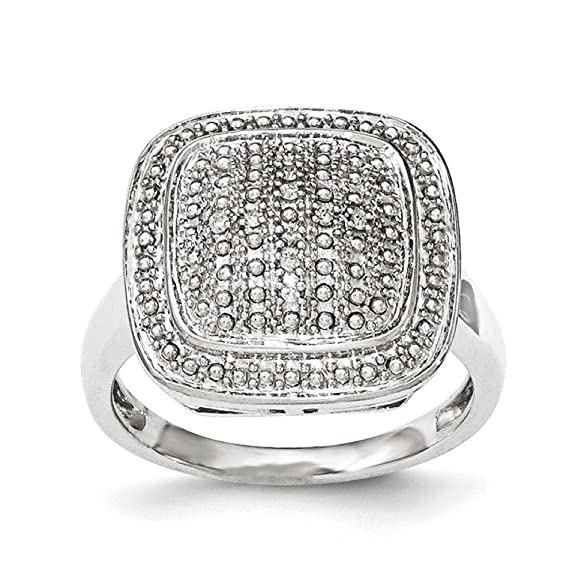 Sterling Silver Polished Square Shape Diamond Ring - Ring Size Options Range: L to P