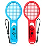 Tennis Racket Compatible with Nintendo Switch, Keten Twin Pack Tennis Racket for Joy-Con Controllers for Mario Tennis Aces Game, Grips for Switch Joy-Cons (1X Blue & 1X Red) (Color: Red/Blue)