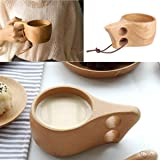 CHICTRY Kuksa Wood Cup Handmade Unbreakable Wooden Drinking Mug Coffee Tea Milk Cup for Home Office Outdoor Travel Camping 2 Holes Grip One Size (Color: 2 Holes Grip, Tamaño: One Size)