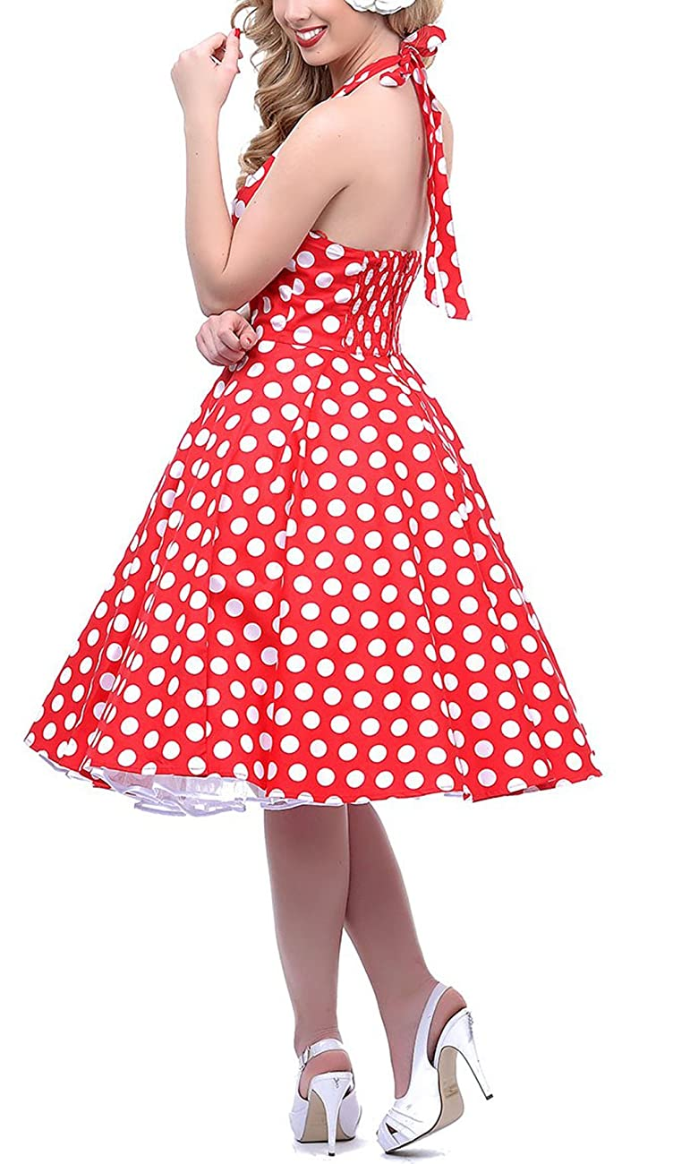 BI.TENCON 1950s Halter Style Vintage Polka Dot Swing Party Dress 1