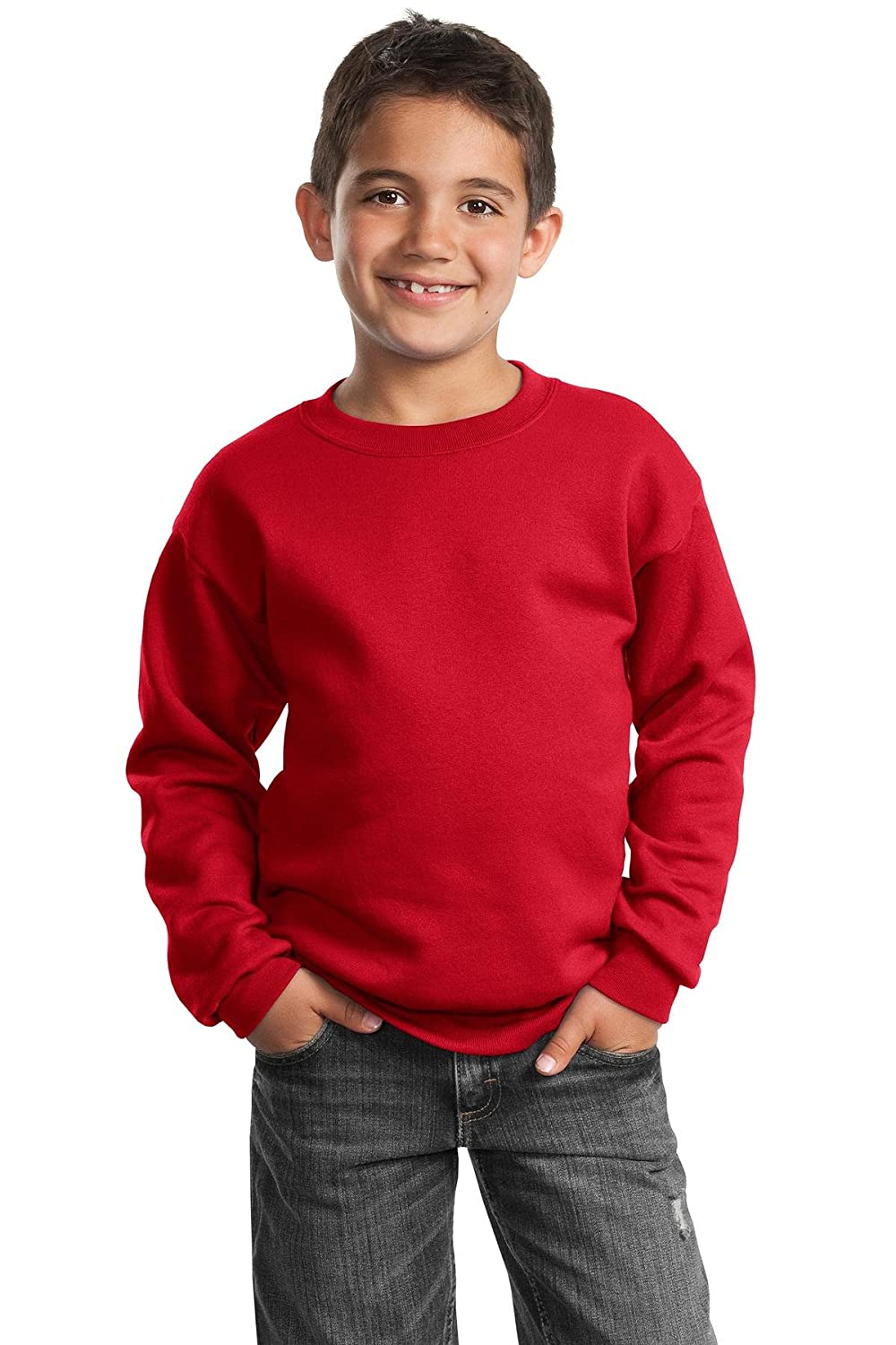 Youth Crewneck Sweatshirt, Color: Red, Size: Medium