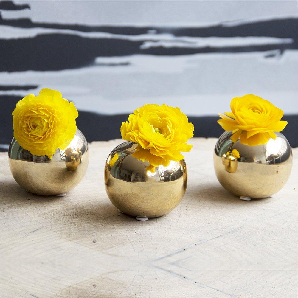 Sphere Ceramic Bud Vase Gold
