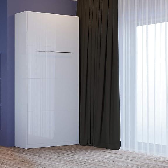Letto a scomparsa 90 cm Verticale Bianco parte frontale lucida Letto ribaltabile & Letto a Muro SMARTBett