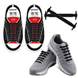 Homar Adult Elastic Athletic Flat No Tie Shoelaces - Best in Sports Outdoors Fan Shop Footwear Shoelaces - Once and for All Silicon Shoe Laces Perfect for Sneaker Boots Oxford and Casual Shoes - Black (Color: Adult Size Black, Tamaño: Adult Size)