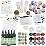 Kit 5 UV Crystal Clear Transparent Epoxy Resins 12 Silicone Molds 36 Decorations with Lamp Tweezers Eyelets for Pendants Necklaces Bracelets Earrings Rings Jewelry Making (Color: transparent, Tamaño: 12Molds 36Decorations)