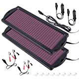 POWOXI Solar Car Battery Trickle Charger Panel 12v 1.8W Waterproof Charging Power Kit Maintainer Cigarette Lighter Plug Clamp Amorphous for Rv Motorcycle Boat Marine Vehicle Snowmobile Watercraft.