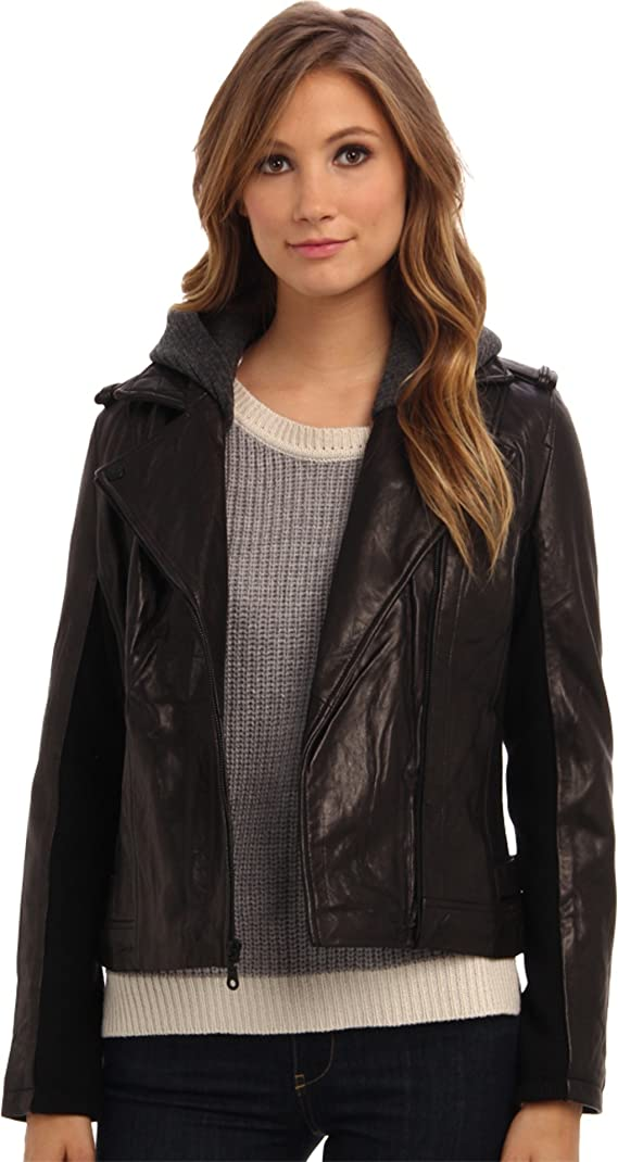 DKNY Women's Zip Front Moto Jacket w Sweatshirt Detail 18096-Y4