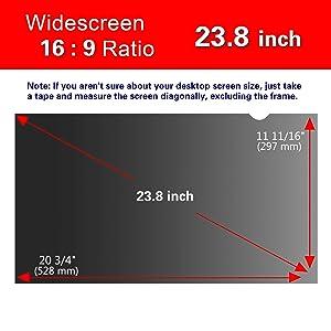 Magicmoon Privacy Filter Screen Protector, Anti-Spy&Glare Film for 23.8 inch Widescreen Computer Monitor (23.8'', 16:9 Aspect Ratio) (Tamaño: 23.8 Widescreen (16:9))