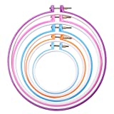 Caydo 5 Pieces Embroidery Hoops Cross Stitch Hoop Embroidery Circle Set, 5 inch to 11 inch (Multicolor)