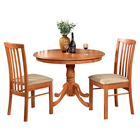 East West Furniture HART3-CHR-C 3-Piece Kitchen Nook Dining Table Set, Cherry Finish