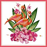 Cross Stitch Counted Kits Stamped Kit Cross-Stitching Pattern for Home Decor, 14CT Pre-Printed Fabric - DIY Art Crafts & Sewing Needlepoint Kit(Printed Kits,Flamingo) (Color: Printed Kits,Flamingo)