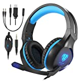 Butfulake Gaming Headset for Xbox One PS4 PlayStation 4 Nintendo Switch PC Smartphone, 3.5mm Stereo Gaming Sound Over-Ear Headphones Noise Cancelling with Mic and LED Light, Blue (Color: Blue)