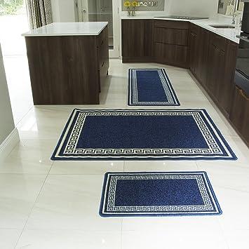 Tapis de cuisine cuisine bleu motif blanc durable for Tapis cuisine lavable