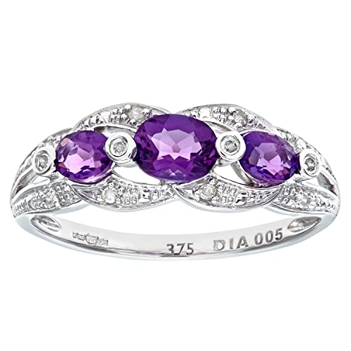 Naava 9ct White Gold Amethyst And Diamond Fig 8 Design Ring
