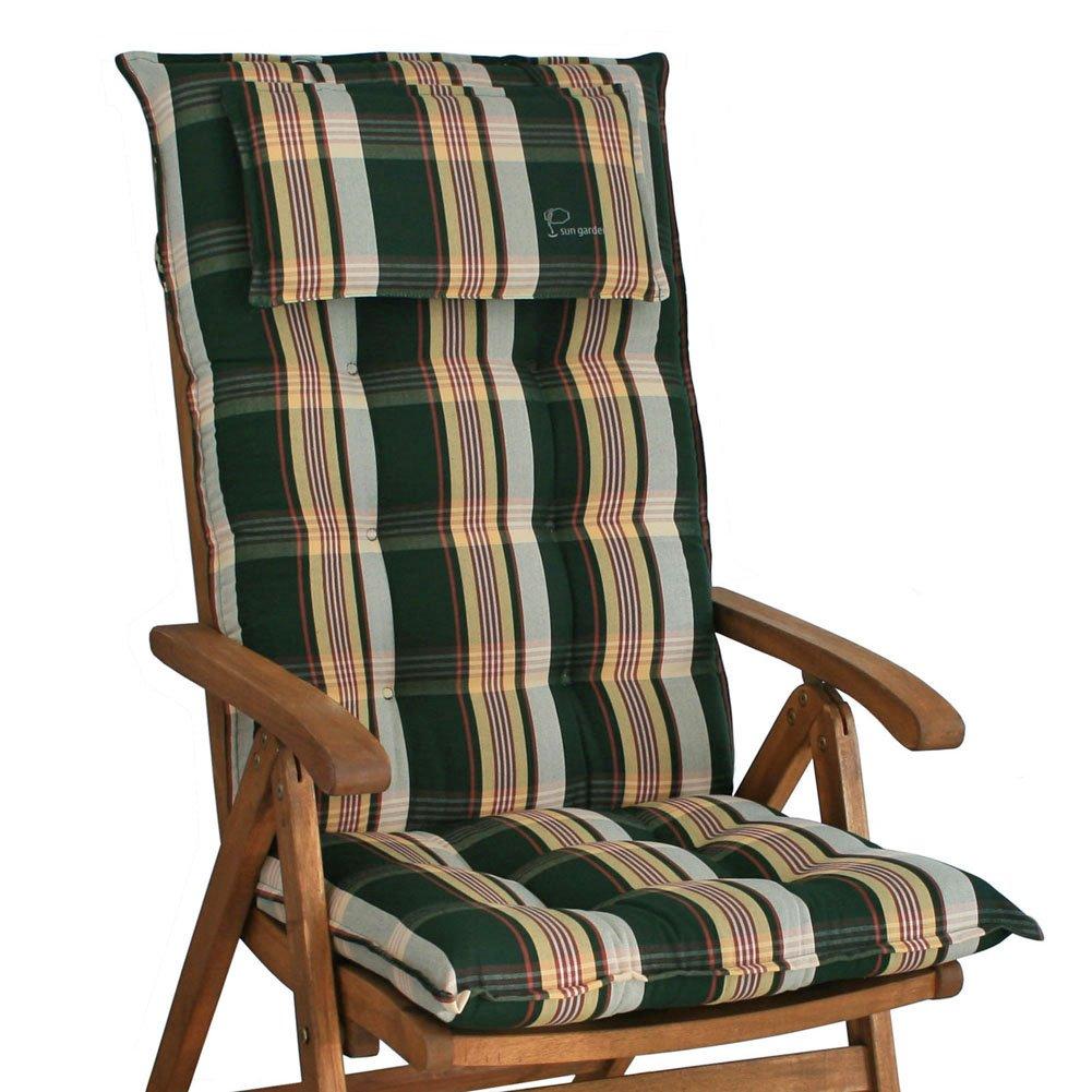 6 Auflagen für Hochlehner in grün kariert Sun Garden Sylt 10433-200