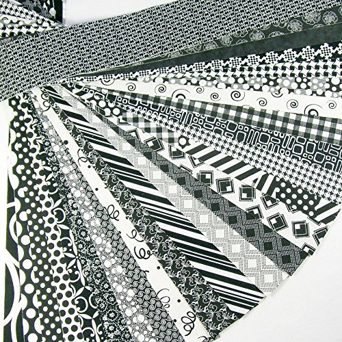 Jelly Roll 25 Cotton Quilting Fabric Strips 2.5 X 43-inch Classic Black and White No Duplicates