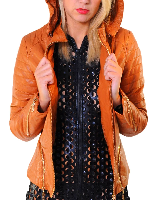 erdbeerloft – Damen Jacke, Kunstlederjacke mit Fell Kapuze, braun rost , 36-42 jetzt bestellen