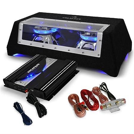 AUNA Black Line 120 Pack Subwoofer voiture - Set tuning comprenant caisson de basse et Ampli (fourni avec câble) - Noir
