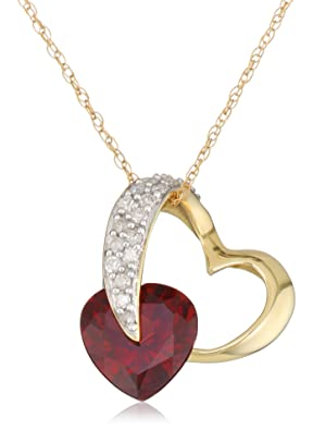 10k Yellow Gold Heart Garnet and Diamond Pendant Necklace, 18