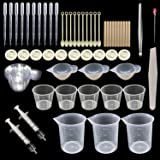Woohome 66 PCS Epoxy Resin Tools Kit, Silicone Mold Tool Included Measuring Cup, Silicone Mixing Cups, Tweezers with Mixing Sticks, Dropping Pipette, Finger Cots, Sanding Strip for Jewelry DIY (Color: 12)