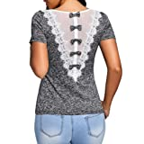 Oksale® Womens Summer Plus Size Short Sleeve Blouse Bowknot Embellished Lace Trim T-Shirt (Gray, XL)