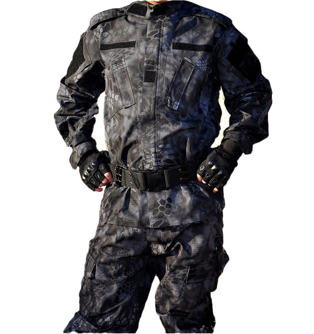 OSdream Outdoor Black Python Pattern Tactical Suit, Battle Strike Uniform Suit, Camping Hiking Hunting Paintball Camo Suit
